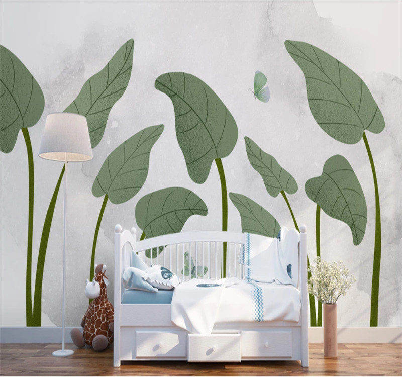 Custom 3d wallpaper Hand painted tropical plants fresh Nordic living room bedroom wall high grade waterproof material in Fabric Textile Wallcoverings from Home Improvement