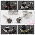 Fashion 3mm Clear Black Red Pink Yellow Round Zircon Crystal 316L Stainless Steel Stud Earrings For Choose 1pair