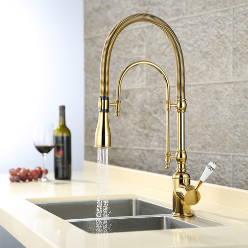 online shop solid brass kitchen faucet with golden finish swivel spout pull down sink mixer tap single handle cold and hot deck mounted aliexpress mobile