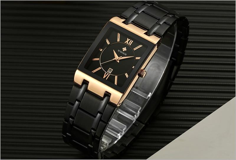 Men Watches Top Brand Luxury WWOOR Gold Black Square Quartz watch men Waterproof Golden Male Wristwatch Men watches