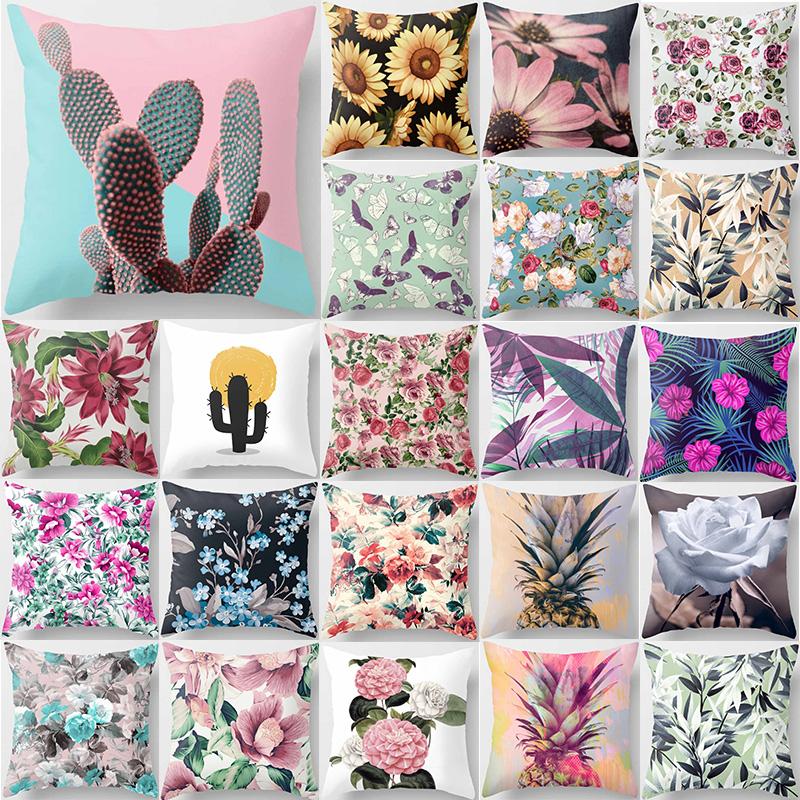 Tropical cactus pineapple flowers plants pillow cases square two sides printing Helianthus annuus pillow covers