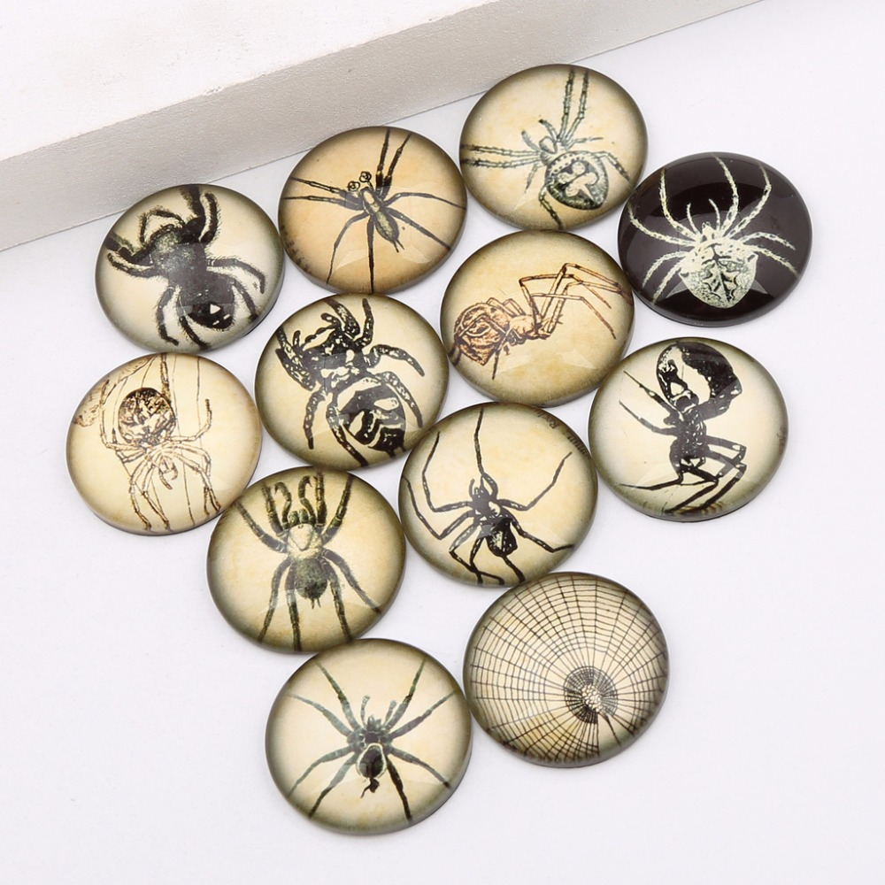 Reidgaller 20pcs Photo Glass Cabochon 20mm Diy Mixed Handmade Vintage Spider Photo Findings For Scrapbooking Embellishments