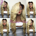 hot selling heat resistant synthetic lace front wig black to blonde two tone synthetic lace front wig for black women