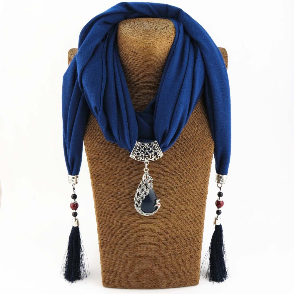 купить KMVEXO Vintage Scarf Necklace Natural Stone Peacock Pendant for Women Fringe Tassel Necklaces 2018 New Statement Jewelry Bijoux недорого
