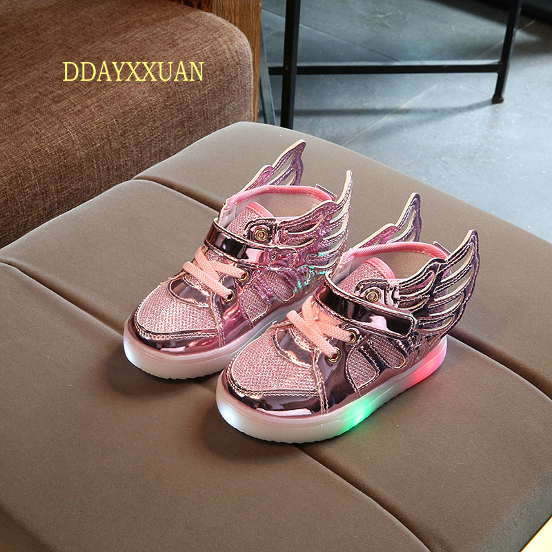 New Kids Girls Luminous LED Light Shoes Angel Wings Baby Boys Children Glowing Sneakers Casual Sports Wings Shoes size 21-30
