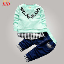 Spring New Clothing Set For Baby Boy Girl Sweatshirt + Pants Kids Letters Slogan Shirt Tees Casual Sport Clothes Suits KD470