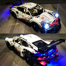 Technic LED Light MOC Super White Racers Racing Sports Car Building Blocks Sets Kits Bricks Kids Gift Toys Compatible Legoings