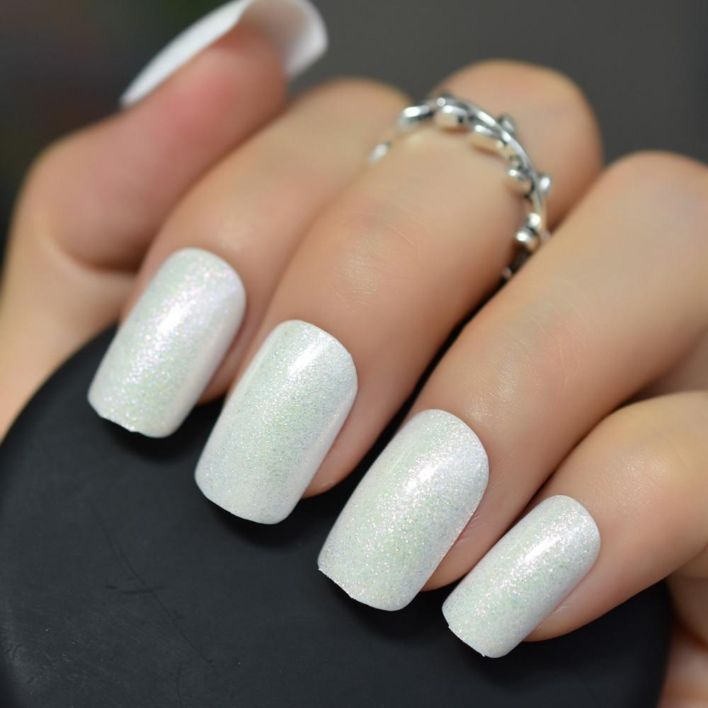 Pearl White Fake Nails Shimmer Glitter False Nail Full Cover UV Gel Design Press on Artificial Ladies Finger Faux Nail Art Decor