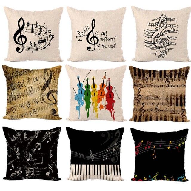 Musica nota pianoforte chitarra cuscini decorativi copertura del ...