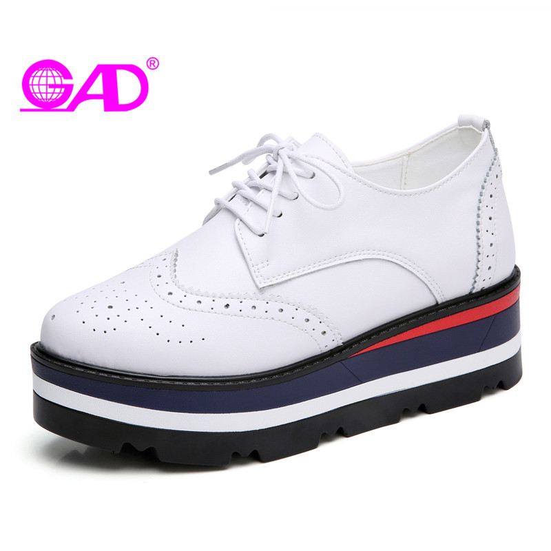GAD Flat Platform Women Brogue Shoes Hot Sales Round Toe Comfortable Women Leather Casual Shoes Fashion Lace-up Women Flat Shoes minika new arrival 2017 casual shoes women multicolor optional comfortable women flat shoes fashion patchwork platform shoes
