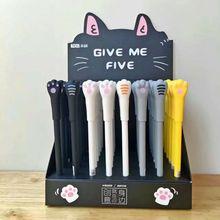 48 pcs ג ל עטי Cartoon חתול שחור צבעוני kawaii מתנת ג ל דיו עטי עטי כתיבה חמוד מכתבים משרד ציוד לבית ספר