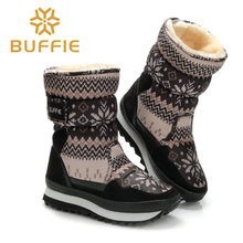 Buffie Winter Women boots grey colour snow boot warm plush fur big full size 27 to 41 cow suede leather binding Shoes free ship