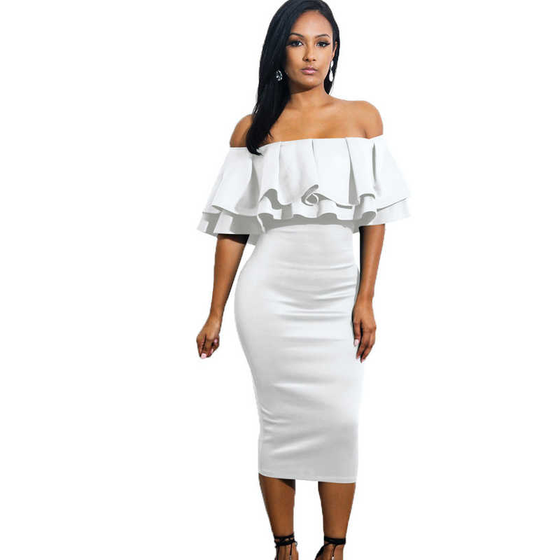 ... 2018 new summer autumn Woman Elegant Evening Sexy Club party Backless Off  Shoulder bodycon tunic Ruffle ... fb4e852a1f78