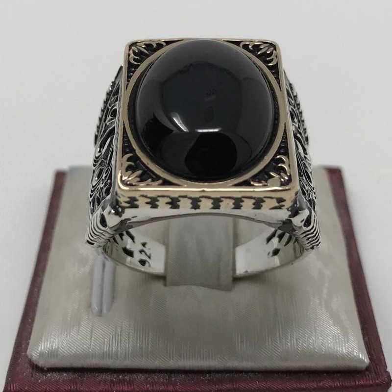 Vintage büyük siyah Oval taş yüzük erkekler kadınlar için Punk stil antik gümüş renk yüzük adam moda takı Anel Hip Hop z5M231