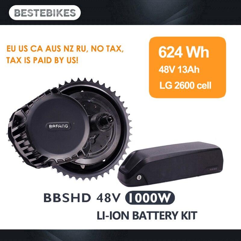 Bafang motor BBSHD 48V1000W 48v13ah bateria LG BBS03 electrica kit bicicleta elétrica do motor meados de carro kit de conversão ebike do motor