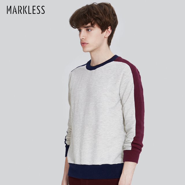 Markless Mens Fashion Models Contrast Long Sleeve Sweatshirts Male