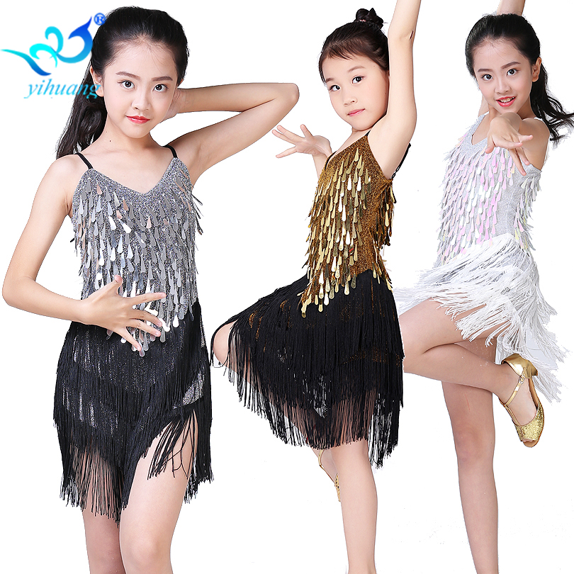 Children Latin Dance Dress Girls Ballroom Dance Competition Dresses kids Salsa /Tango / Cha Cha Rumba Stage Performance Outfits