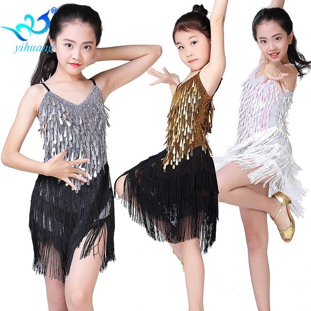 Children Latin Dance Dress Girls Ballroom Dance Competition Dresses kids Salsa /Tango / Cha Cha Rumba Stage Performance Outfits