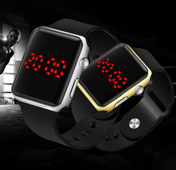 Men Women Square LED Watch New Sports Digital Watch Silicone Electronic Wrist Watch Hot LED Watches Clock Relogio Drop Shipping