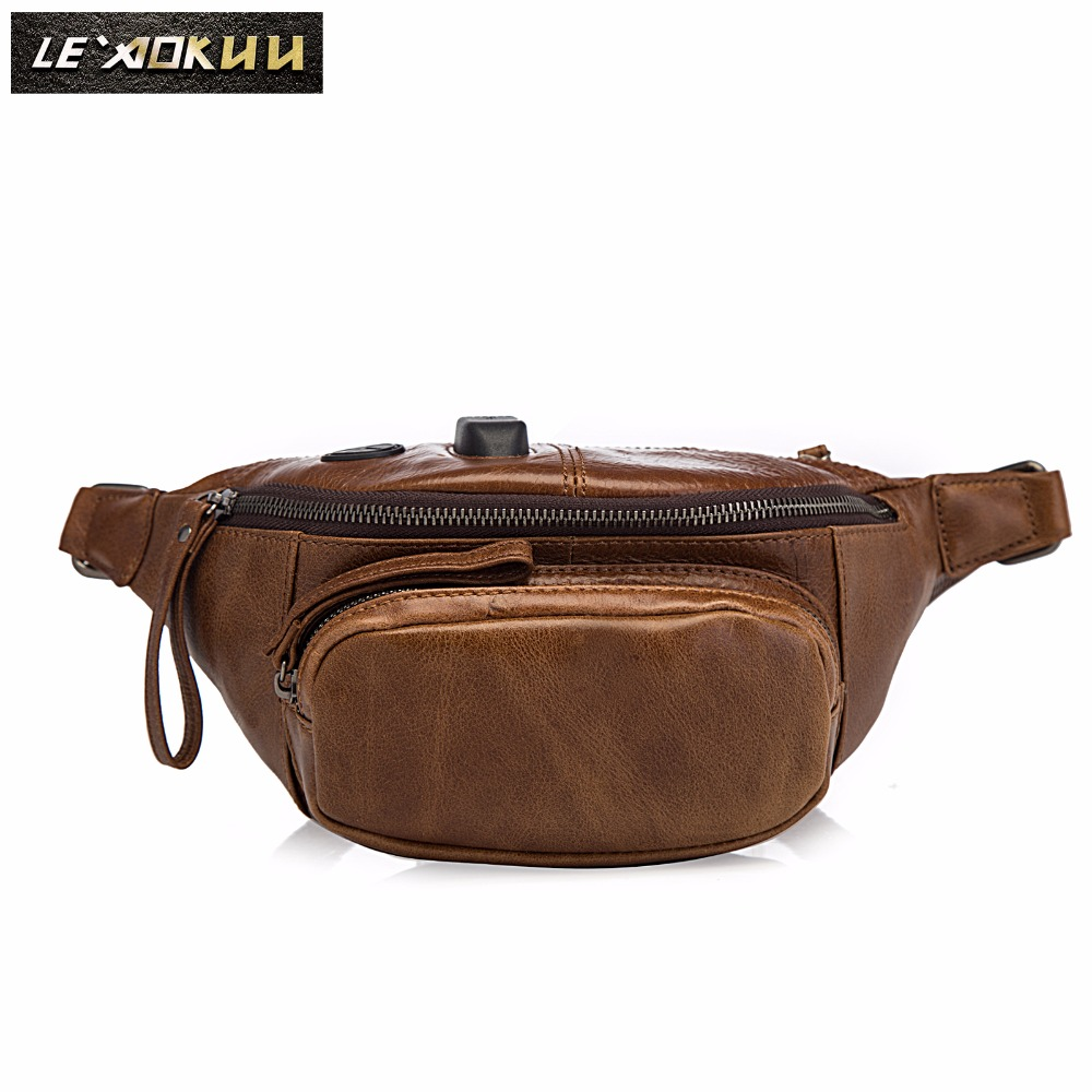New Quality Leather Men Casual Fashion Brown Travel Fanny Waist Belt Bag Chest Pack Sling Bag Design Phone Case Pouch Male 202
