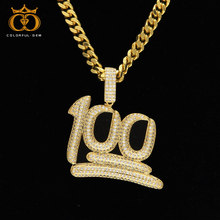 Gold Emoji 100 Logo Pendant Necklace Iced out Bling Copper CZ Zircon Men Hip hop Jewelry Miami Tennis Chain