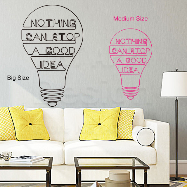 Art Fashion Design Home Decor Vinyl Good Idea Words Wall Sticker