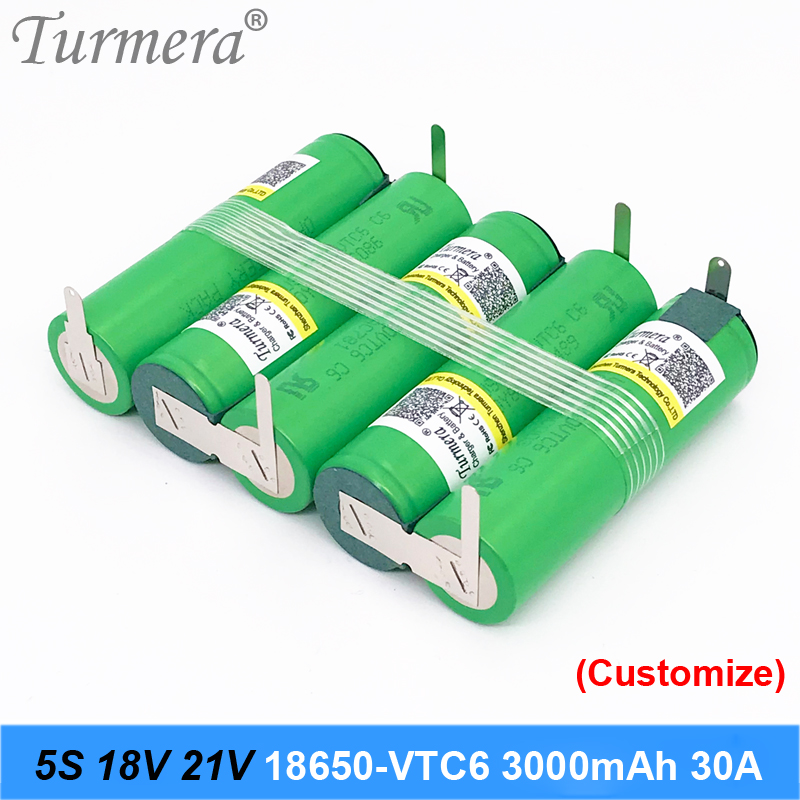 5s 18v 21v battery 18650 pack 18650 vtc6 3000mah 30a soldering battery for screwdriver battery and vacuum cleaner customized ju1 image