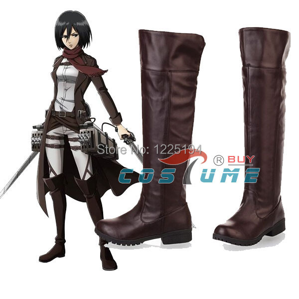 Anime Attack On Titan Cosplay Boots Shingeki No Kyojin Eren Jaeger Ackerman Cosplay Shoes Boots