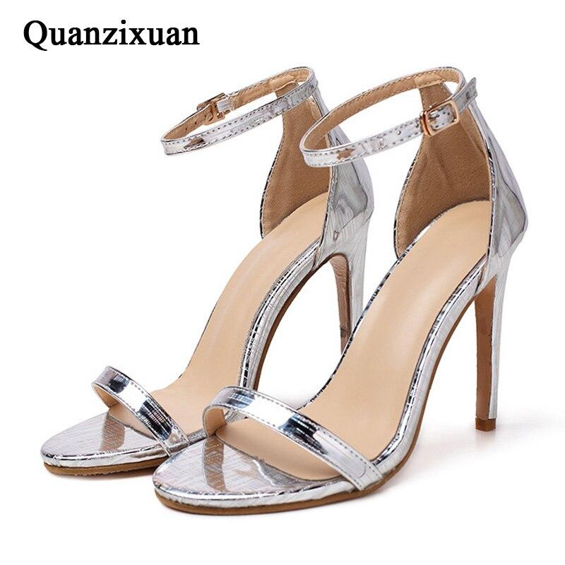 6fb2f42a6 Women Pumps High Heels Stiletto Women Sandals Women Shoes Peep Toe Women  Heels Ladies Shoes Silver