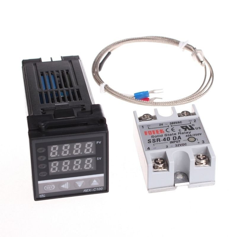 Free Shipping REX-C100 Digital PID Temperature Controller Thermostat REX-C100 + Max.40A SSR Relay + K Thermocouple Probe 1kits digital adjustable pid temperature controller panel thermostat pc410 rex c100 max 40a ssr relay k thermocouple probe