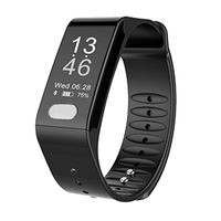 Top Deals T6 Heart Rate Smart Band Watch ECG Puls Blood Pressure Monitor Fitness Bracelet Wristband black