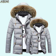 2016 Autumn Winter Warm Cotton Puffer Parkas with Faux Fur Hood for Men and Women Cute Couples Matching Outfits Coats M-3XL
