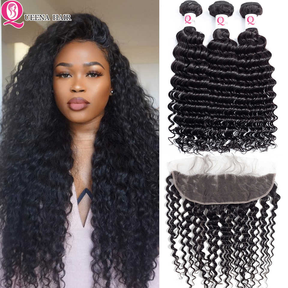 Best Brazilian Deep Wave Hair Bundles With Frontal Closure Baby Hair Deep Curly Virgin Hair Weave Bundles With Frontal Closure