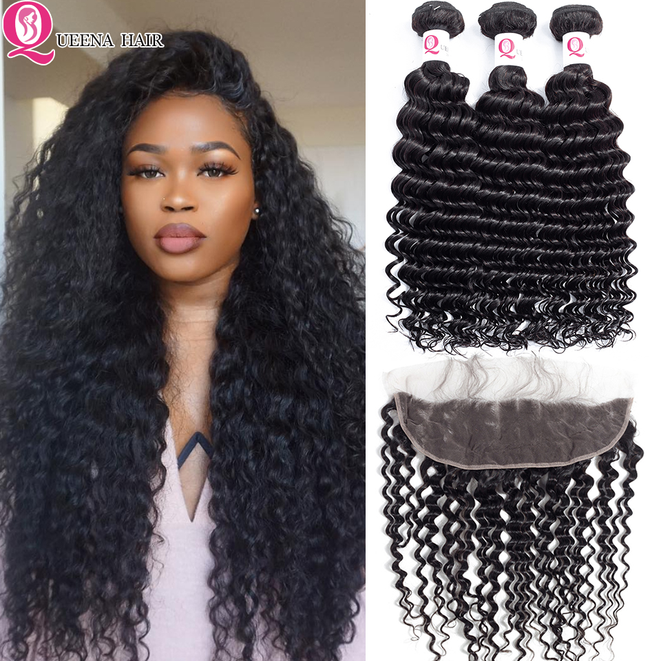 Best Deep Wave Hair Bundles With Frontal Closure Brazilian Human Hair Wave Bundles With Frontal Curly Bundles And Closure Queena