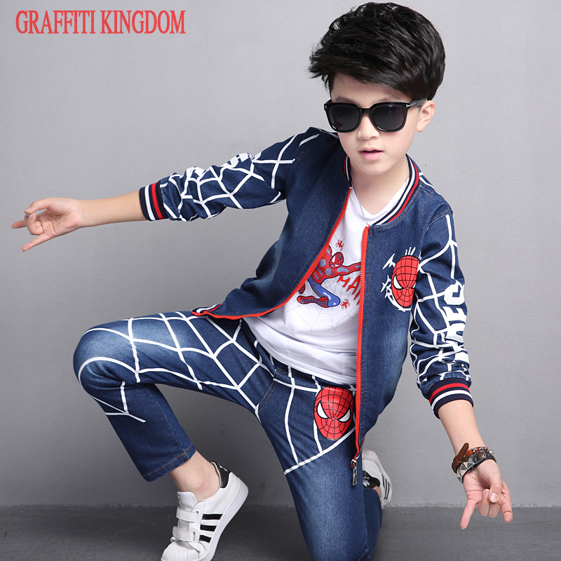 3 Pcs boys denim jacket + long sleeve t shirt + jeans Autumn New 2017 children fashion casual Clothes Sets factory outlet brand sunrun children polarized sunglasses tr90 baby classic fashion eyewear kids sun glasses boy girls sunglasses uv400 oculos s886