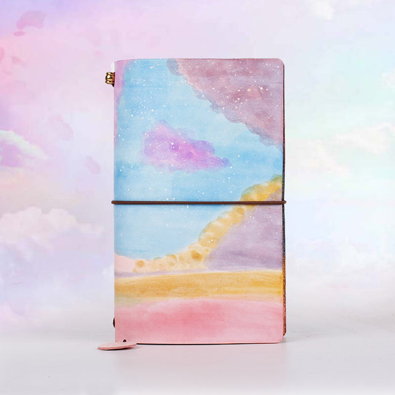 2018 Yiwi Handmade Painted Colorful  Rainbow Retro Genuine  Leather Travel Planner Cow Leather Standard Passport Notebook2018 Yiwi Handmade Painted Colorful  Rainbow Retro Genuine  Leather Travel Planner Cow Leather Standard Passport Notebook