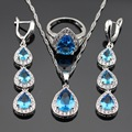 Silver Color Jewelry Sets For Women Necklace Pendant Rings Long Earrings Christmas Light Blue Created White CZ Free Gift Box
