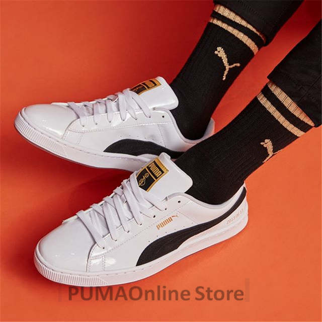 US $60.7 8% OFF|PUMA X BTS Basket Patent Shoes Bangtanboys Collaborat Classic Sneaker Unisex Men's Women's Sneaker Shoes Size35.5 44 in Badminton