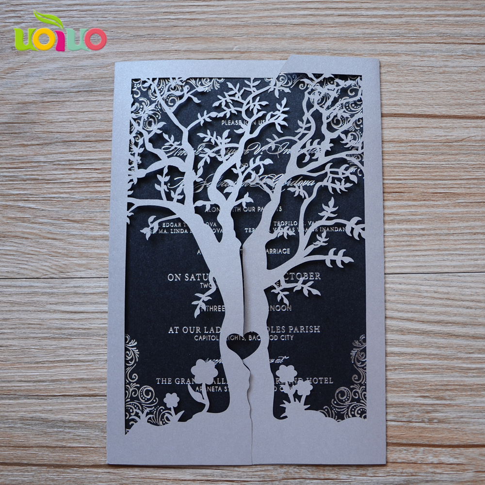 laser cut customized wedding invitations tree with insertenvelope and seal in cards invitations from home garden on aliexpresscom alibaba group - Laser Cut Tree Wedding Invitations