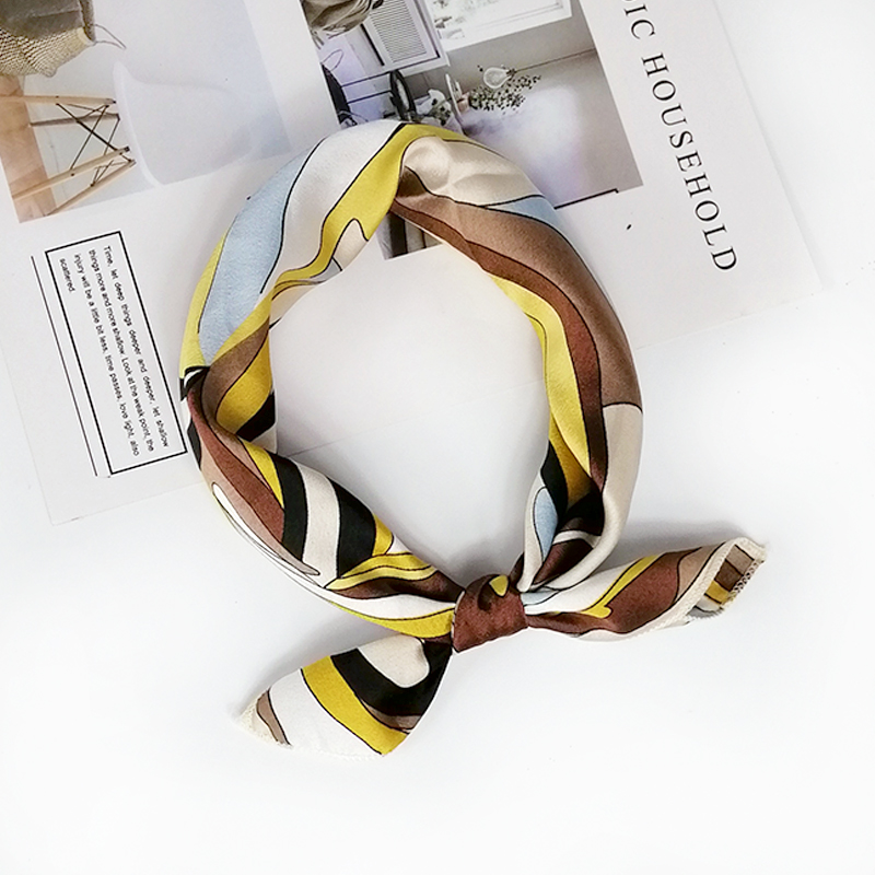 HTB11DAieUGF3KVjSZFvq6z nXXax - new style Square Scarf Hair Tie Band For Business Party Women Elegant Small Vintage Skinny Retro Head Neck Silk Satin Scarf