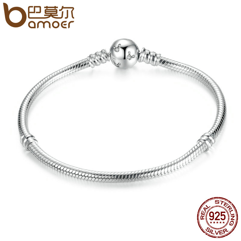 BAMOER Classique 100% 925 Sterling Argent Serpent Chaîne Dsny, Miky De Base DIY Charme Bracelet pour les Femmes Mode Bijoux PAS912