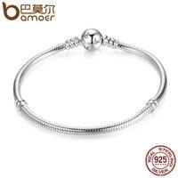BAMOER Classic 100 925 Sterling Silver Snake Chain Dsny Miky Basic DIY Charm Bracelet For Women