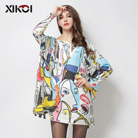 XIKOI 2018 New Autumn Fashion Women Sweaters Print Slash Neck Pullovers Computer Knitted Casual Long Loose Women Sweater