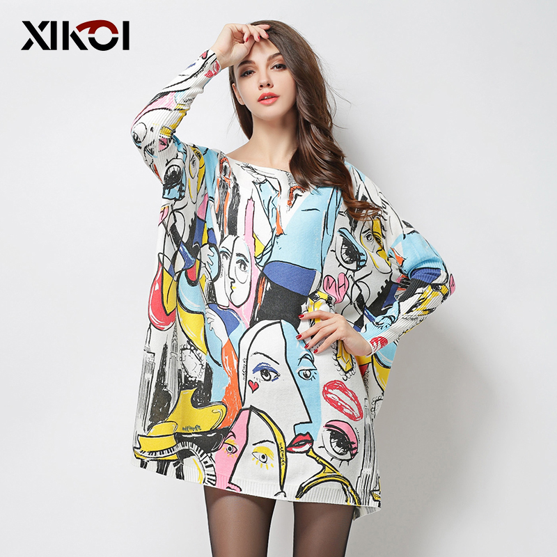 XIKOI Fashion Oversize Women Sweaters Abstract Painting Print Slash Neck Pullovers Computer Knitted Casual Long Loose Sweater