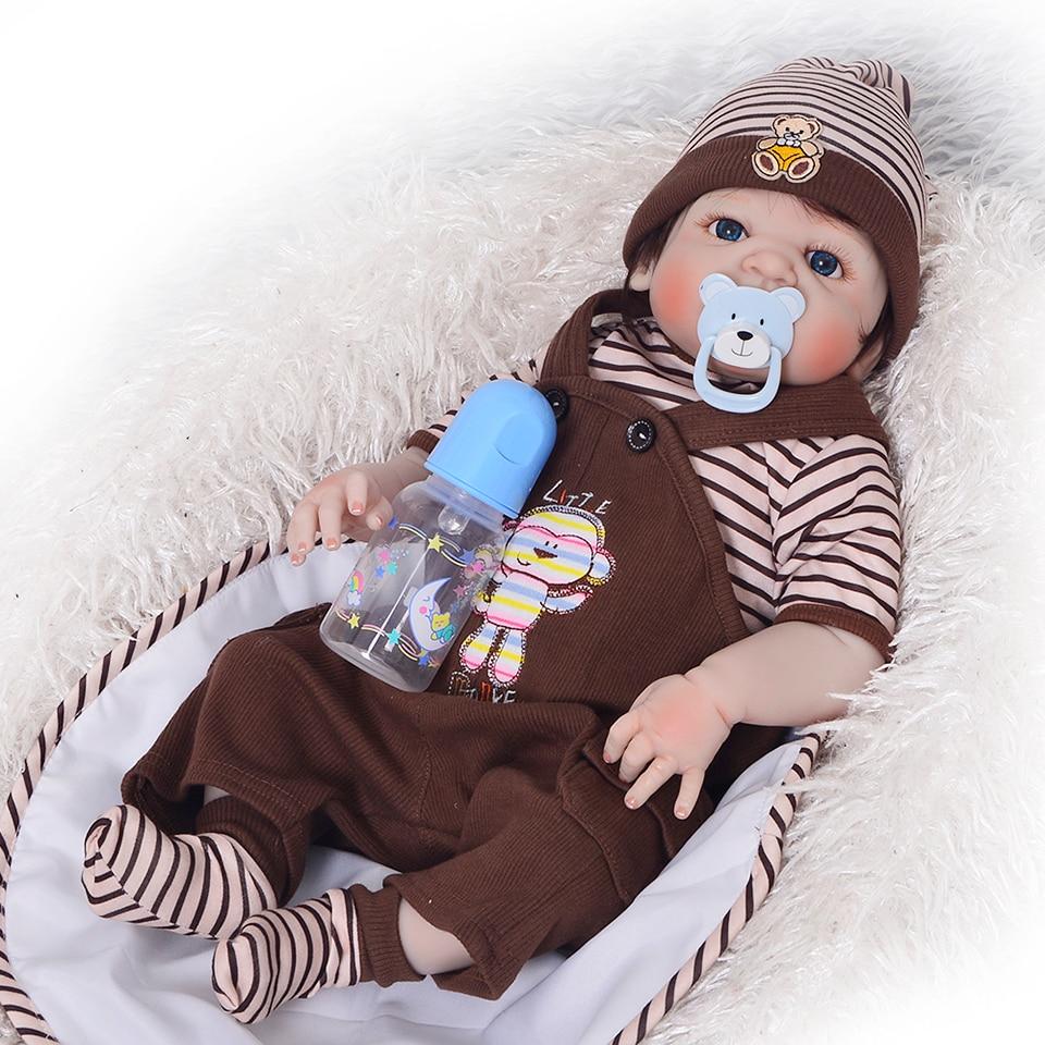 Bambola neonato 57 cm Realistica Del Silicone Pieno 23 ''Reborn Baby Doll Per La Vendita Realistico Del Bambino Alive Dolls Bambini Compagno di Giochi regali di natale