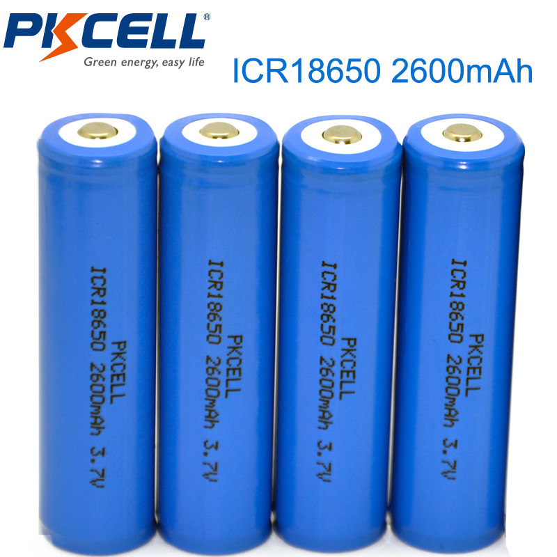 Hot Sale 4Pcs/lot PKCELL 18650 Battery 2600mah 3.7 v Li-ion Rechargeable Battery Batteries ICR 18650 Lithium Battery Button Top карабин camp camp oval pro 3lock