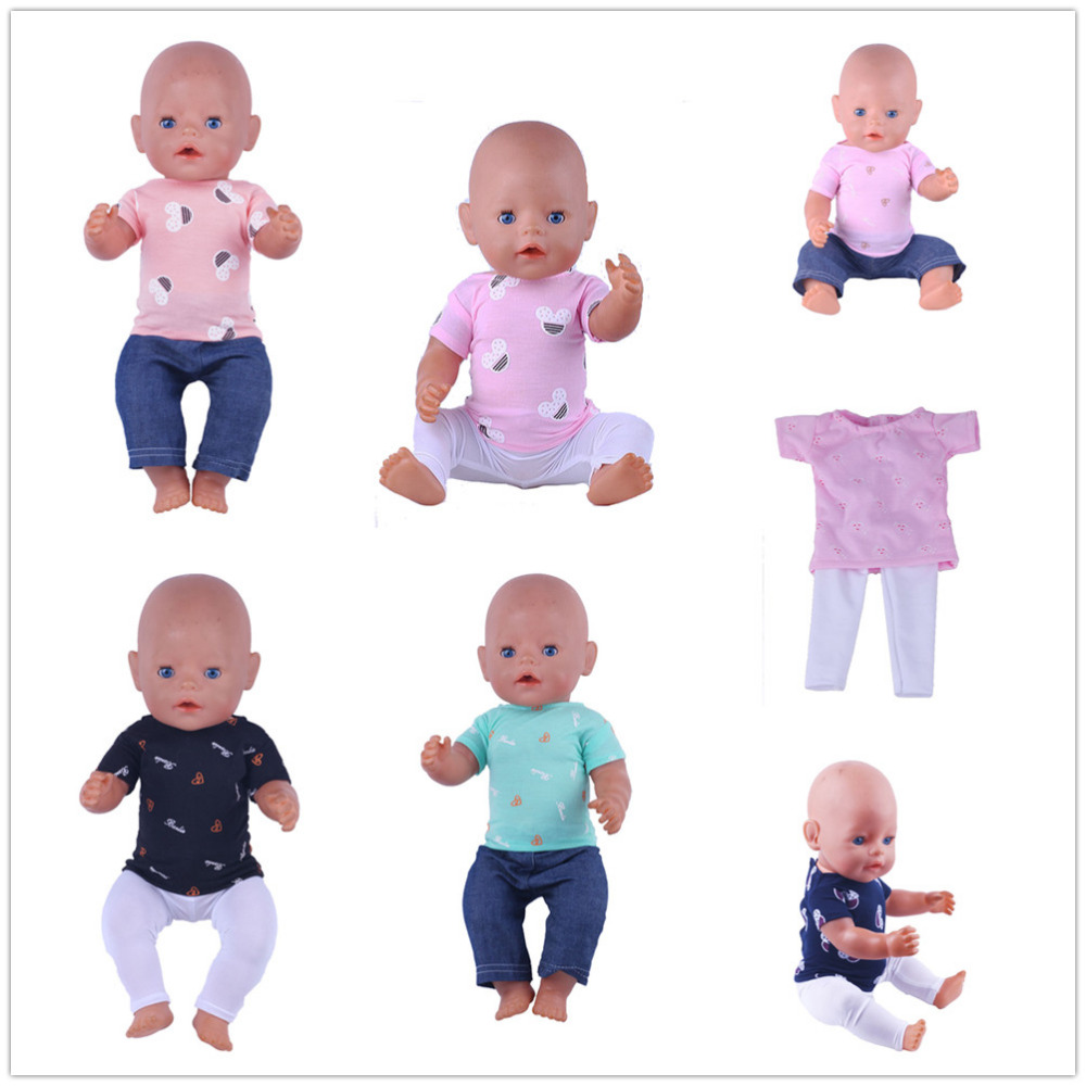 7 Color T-shirt + Pants Doll Clothes Wear fit 43cm Baby Born zapf Doll, Children best Birthday Gift N496 2color choose leisure dress doll clothes wear fit 43cm baby born zapf children best birthday gift only sell clothes