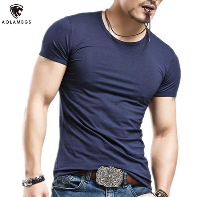 af0d020802 Hombres Camiseta slim fit High stretch casual Sporting camiseta color  sólido de manga corta Camiseta de