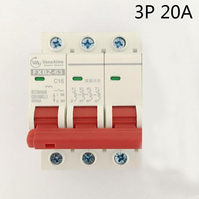 FXBZ-63 3P 20A DC 500V Circuit breaker MCB 1 Poles C63