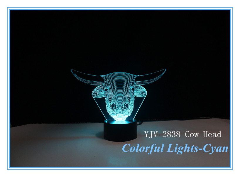 New Arrival Children Gift 3D Led Cow Head Night Lighting 7 Auto Change Colors Acrylic Bubalus Night Light YJM 2838